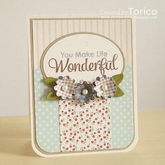 You Make Life Wonderful (Torico27) Tags: friends flower green leaves aqua stripes navy cream pebbles gingham pearl oval polkadot myfavoritethings mft dienamics