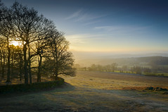 Misty Sunset at Bradgate Park, Leicestershire (John__Hull) Tags: park old trees winter sunset sky sun mist grass yellow clouds john rocks afternoon leicestershire dusk leicester hills bracken paths walls bradgate