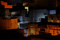 Jodhpur-201306225 (t3mujin) Tags: city blue orange india house color building window architecture night asia rajasthan jodhpur