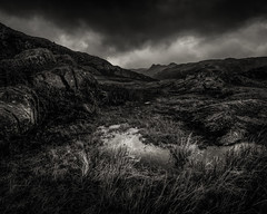Tension (jellyfire) Tags: winter sky blackandwhite storm mountains tourism rain clouds canon dark landscape outdoors mono nationalpark general unitedkingdom menacing lakedistrict hills cumbria fells brooding peaks canon5dmkii