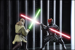 Qui-Gon Jinn Vs. Darth Maul (Mindless Philosopher) Tags: toy starwars nikon jedi collectible figurine sith darthmaul naboo applause quigonjinn thephantommenace theed nikond90