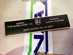 BMW / Alpina B6 2.8 0003 (bmw_alpina_teile) Tags: 2002 bavaria sticker alpina plate turbo dash 25 bmw b2 23 vin 28 decal e3 m3 a4 35 27 c2 console 325i e6 b7 csl e30 neue klasse aufkleber e9 320 nk b6s tii e34 c1 e10 b12 e36 biturbo e20 e32 b3 b9 e28 323i b6 320i e39 b11 b10 e21 e12 e23 e24 e31 b8 typenschild a4s bovensiepen