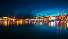 Vieux Port, Marseille (HannahGE) Tags: longexposure sunset sea reflection water night clouds boats lights twilight mediterranean harbour provence maseille