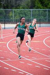 Titi and Maya in the 200m (Malcolm Slaney) Tags: track 200m 2016 paly paloaltohighschool deanzaleaguefinals