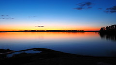 Nightfall (Jens Haggren) Tags: trees sunset sea sky seascape water night clouds landscape evening colours sweden silhouettes olympus nightfall em1 nacka