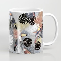 tropical-birds-mug_Society6 (vannina_sf) Tags: plant tree nature leaves birds forest leaf toucan pattern parrot palm tropical tropics ara society6