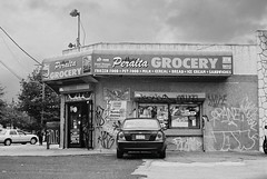 DaR1-E034 (David Swift Photography Thanks for 16 million view) Tags: urban signs film philadelphia 35mm graffiti bodega storefronts ilfordxp2 awnings northphilly grocerystores yashicat4 davidswiftphotography