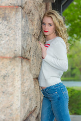 Jillian 6 (jlucierphoto) Tags: red portrait hot cute sexy beautiful young blonde lipstick lovelyflickr