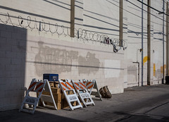 Boxes protected by the City of Los Angeles (Alec C Miller) Tags: street west color art digital photography los alley shadows angeles fine hollywood