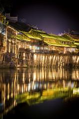 Shining river (SteTre.) Tags: china light house night cn river landscape mirror town reflex asia fenghuang hunansheng