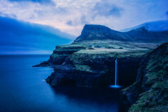 Goodnight Gsadalur (West Leigh) Tags: longexposure travel sunset inspiration mountains landscape waterfall twilight peace village perspective dream meadow peaceful wanderlust explore experience moonlight bluehour simple inspire faroeislands wander discover travelphotography gsadalur