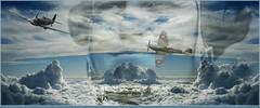Above the clouds (PaulO Classic. ) Tags: flight textures ww2 spitfire battleofbritain picmonkey