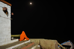 Moon Lit Solitude | Varanasi,India (vjisin) Tags: travel light people india heritage water river nikon asia solitude outdoor background steps varanasi hindu hinduism ganga sadhu ganges ghats kasi travelphotography incredibleindia