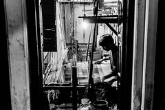 Banarasi Silk Saree Handloom Weaver | Varanasi,India (vjisin) Tags: travel blackandwhite india man heritage monochrome 35mm nikon asia silk varanasi framing craftsman saree finest benaras artistry kasi handloom travelphotography mughals indianman incredibleindia banarasi