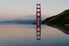 Mirrored Marble (algaimaging) Tags: sanfrancisco bridge light red reflection landmark goldengate bluehour marble