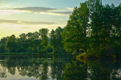 Serednikovo (Alexander Annenkov) Tags: trees sunset summer lake reflection green nature water clouds spring pond russia moscow may region sunfall serednikovo