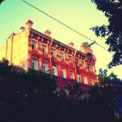 Sunset (difsus) Tags: city sunset summer building stpetersburg evening squareformat