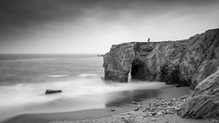 L'arche (f.ray35) Tags: sea sky blackandwhite mer man monochrome canon long exposure alone noiretblanc bretagne ciel contraste morbihan homme rochers poselongue