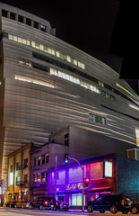 modern art and strip clubs (pbo31) Tags: sanfrancisco california city panorama color june architecture modern club night dark nikon purple contemporary sfmoma large panoramic bayarea soma stitched museam striper howardstreet 2016 boury goldclub pbo31 d810