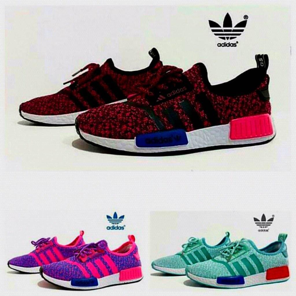 outlet store e0f49 19e11 sepatu adidas nmd warna  hitam merah, ping biru, tosca model  alas rata