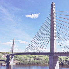 (amy higgins) Tags: bridge sky water clouds maine observatory narrows penobscot iphone