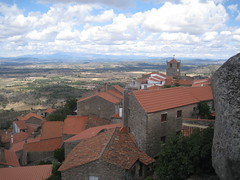 Monsanto. Roofs. (VERUSHKA4) Tags: canon europe portugal monsanto summer july day sky cloud travel perspective vue view ciel house building tower bell roof wall album portuguese nature montagne mountain field valley stone verdure green blue verushka4 chimney cock iron detail astounding image bellhouse