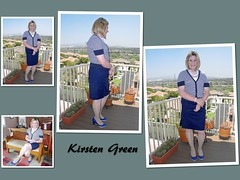 Navy and White (krislagreen) Tags: pumps cd femme skirt tgirl transgender blond transvestite heels crossdress tg cardi patent feminization pencilskirt feminized turbocollage