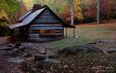 "The Noah ""Bud"" Ogle Place (Michael Mellen) Tags: autumn fall mountains smokies ogle flickr historic cabins usa history fujifilm tennessee fuji buildings structures film homestead log cabin great smoky national park cherokee gatlinburg noah bud place michael mellen saddlebag orchard fineart twilight nocturnal light color colorful"