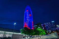Torre Agbar (CROMEO) Tags: barcelona city sky building night photography lights luces noche photo spain arquitectura long exposure torre view bcn ciudad line diagonal build catalua agbar rascacielos condal glories cromeo