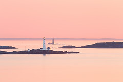 Boston Light and The Graves Light at Sunrise with Boston Harbor Islands from Hull Massachusetts (Greg DuBois - Sponsored by LEE Filters) Tags: ocean longexposure morning pink sea summer orange lighthouse seascape water sunrise canon photography islands coast early photo soft photographer photos massachusetts north stock smooth newengland surreal wallart calm double atlantic telephoto pastels serene nautical hull northeast southshore eastcoast waterscape 6d bostonharbor bostonlight leefilters bigstopper thegraveslight gregdubois