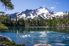 Outdoor Pool (Tom Fenske Photography) Tags: wild people mountain lake reflection me nature wet water oregon swimming outdoors jefferson wilderness