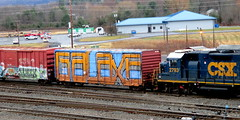 galaxe (timetomakethepasta) Tags: galaxe wholecar freight train graffiti boxcar art csx selkirk yard new york