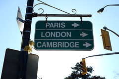 this way to paris london and cambridge (Ian Muttoo) Tags: cambridge ontario canada paris london sign gimp brantford ufraw dsc18811edit