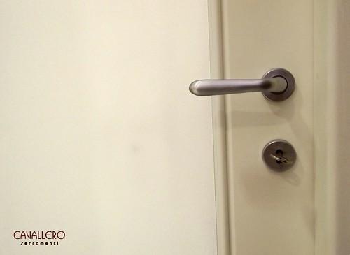 Dettaglio maniglia porta pantogratata con vetro satinato
