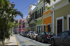 Streets of Old San Juan (rschnaible) Tags: world street old homes streets color building heritage architecture puerto site san colorful juan cloudy sunny unesco rico clear explore caribbean explored