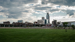 omaha skyline from river's edge park (laughlinc) Tags: city skyline nebraska cityscape omaha 169 woodmen lightroom firstnationalbanktower thechallengefactory riversedgepark laughlinc centurylink lr5beta