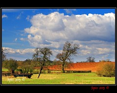 Spring Sunshine On The Farm. (Picture post.) Tags: trees sunlight clouds truck fence landscape countryside interestingness gate shadows bluesky farmland fields paysage arbre springtime ploughedfield