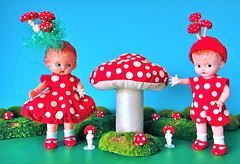 mushroom twins (Mister Mushroom) Tags: mushroom mushrooms doll dolls box rita gifts gift knickerbocker rainingrita