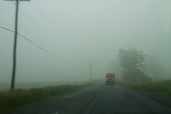 Ride to School (Matt Champlin) Tags: life road bus nature fog mystery canon foggy mysterious 2013 busridetoschool