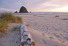 Haystack Sunset (MSPeters) Tags: ocean park travel blue sunset sea sky panorama seascape reflection green tourism beach nature water rock oregon portland landscape coast amazing sand surf waves state pacific northwest hiking tide scenic peaceful wave adventure formation shore haystack cannon coastline ecola ecosystem