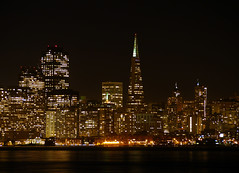 San Francisco, California - USA (Mic V.) Tags: ocean california ca city light panorama usa water skyline night america bay us san francisco pacific united area states nuit ocan pacifique