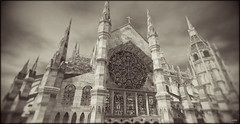 (Bleem Belargio) Tags: secondlife sl cathedral church stainedglass rosewindow antique blackandwhite monochrome cross gothic gothiccathedral notredame arches colognecathedral architecture christian spire europe