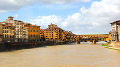 Ponte Vecchio on Arno River - Florence, Italy (The Web Ninja) Tags: world old travel bridge sky italy color travelling history tourism water architecture clouds river photography florence italian colorful europe european photographer explorer tourist adventure explore tuscany inferno destination renaissance danbrown florentine explored robertlangdon