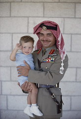 King Hussein , Prince Abdullah (braunn15) Tags: camera family two portrait people color men love boys smiling vertical race standing outdoors person photography one three mixed holding king day child looking with view adult image father amman son prince pride front jordan parent quarter uniforms middle length eastern royalty hussein appearance ethnicity caucasian abdullah