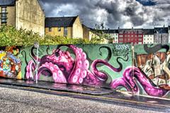 Graffiti octopus (elementalPaul) Tags: pink streetart landscape graffiti scotland edinburgh pentax octopus hdr pinkoctopus photomatixpro caltonroad 5xp k10d pentaxk10d graffitioctopus