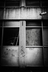 A Place to Go (Feldore) Tags: street city window office howard empty sony centre homeless belfast boardedup derelict mchugh cracked rx100 feldore