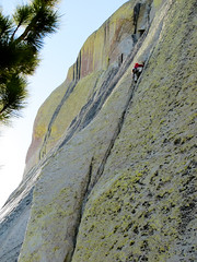Alina high stepping on the first pitch of Imaginary Voyage on The Warlock (DmitMF) Tags: california sport rock risk extreme adventure climbing needles warlock imaginaryvoyage