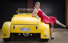 Tayla and the Roadster (Jim Verbz) Tags: red hot classic beautiful up yellow vintage pose model pin posing convertible retro rod pinup roadster