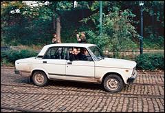 Thumbs Up! (tatrakoda) Tags: auto classic film car museum 35mm geotagged nikon automobile kodak derbyshire voiture communist soviet socialist oldtimer analogue russian f5 tramway lada vaz redoctober crich easterneuropean   ektar100