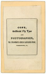 J. L. Cope, Artificial Fly Tyer and Photographer, Norristown, Pa. (Alan Mays) Tags: ephemera photographs photos tintypes foundphotos studiophotos portraits backs backmarks cardbacks advertising advertisements ads children girls clothes clothing dresses patterns plaid tinted handtinted handcolored handpainted cdvs cdv papermounts borders red pink gold victorian 19thcentury nineteenthcentury antique old vintage typefaces type typography fonts cope jlcope strawberryalley lafayettestreet norristown pa montgomerycounty pennsylvania photographers flytyers artificialflytyers flytying fishing sports